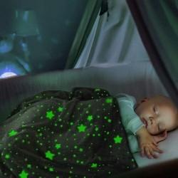 Svietiaca deka s hviezdičkami v tme