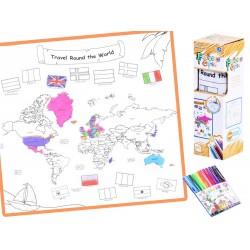 Pratelná omalovánka s fixy - WORLD MAP