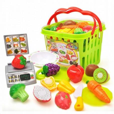 686 Dětský nákupní košík s váhou - Fruits and vegetables