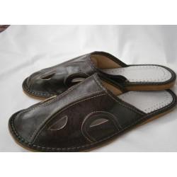Pánské kožené pantofle - tmavohnědá (P0003)