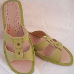 Dámské kožené pantofle - zelené