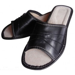 Dámské kožené pantofle - černé (D0002)