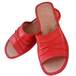Dámské kožené pantofle - červené