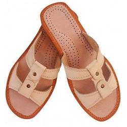 Dámské kožené pantofle - béžové (D0004)