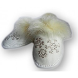 Dámské kožené pantofle - bílé (D0005)