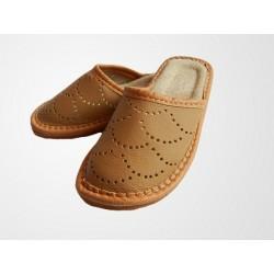 Chlapecké kožené pantofle světlehnědé