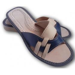 Dámské kožené pantofle - Bílo Modrá