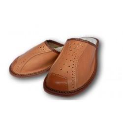 Pánské kožené pantofle - světle hnědá