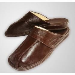 Pánské kožené pantofle - vystlané kůží hnědá