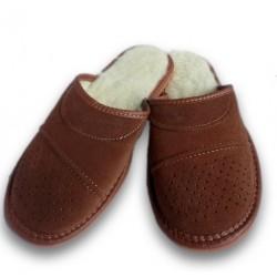 Pánské pantofle z broušené kůže - hnědá