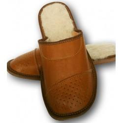 Pánské kožené pantofle - Hnědá (P0010)