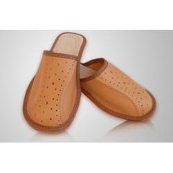 Chlapecké kožené pantofle - světlehnědé