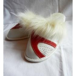 Dámské kožené pantofle - Bílá s červenou (D0010)