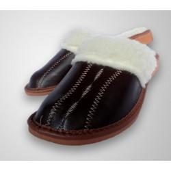 Dámské kožené pantofle - Tmavě hnědá (D0012)