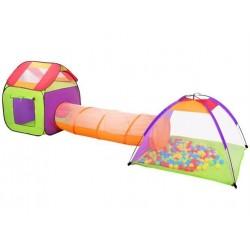 Dětský stanový set se spojovacím tunelem + 200 míčků (MALATEC)