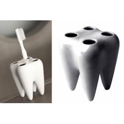 Držák na zubní kartáčky ve tvaru zubu