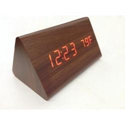 Dřevěné LCD hodiny s datem, budíkem a teplotou