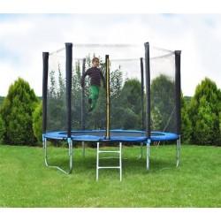 2215 Zahradní trampolína 183 cm, modrá + ochranná síť + žebřík