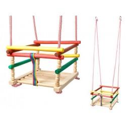 6248 Dětská dřevěná houpačka 33x33xm barevní