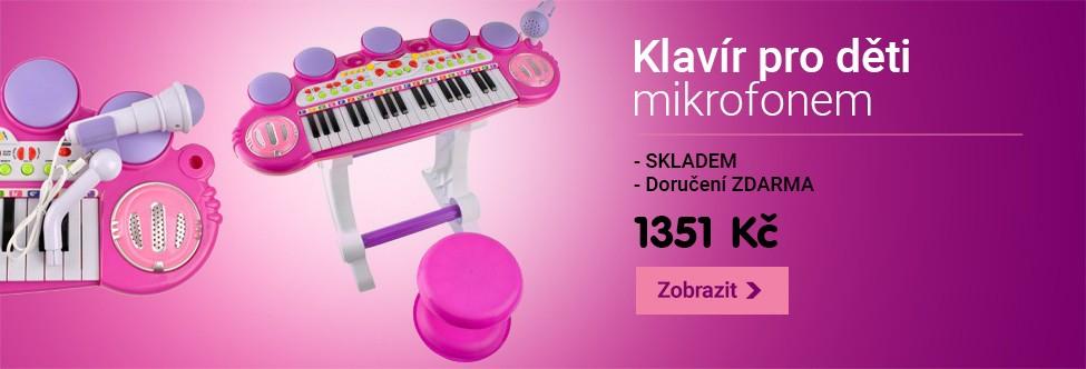 Klavír pro děti s mikrofonem a taburetkou